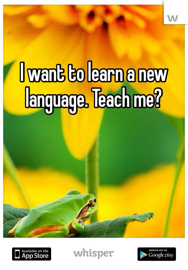 I want to learn a new language. Teach me?