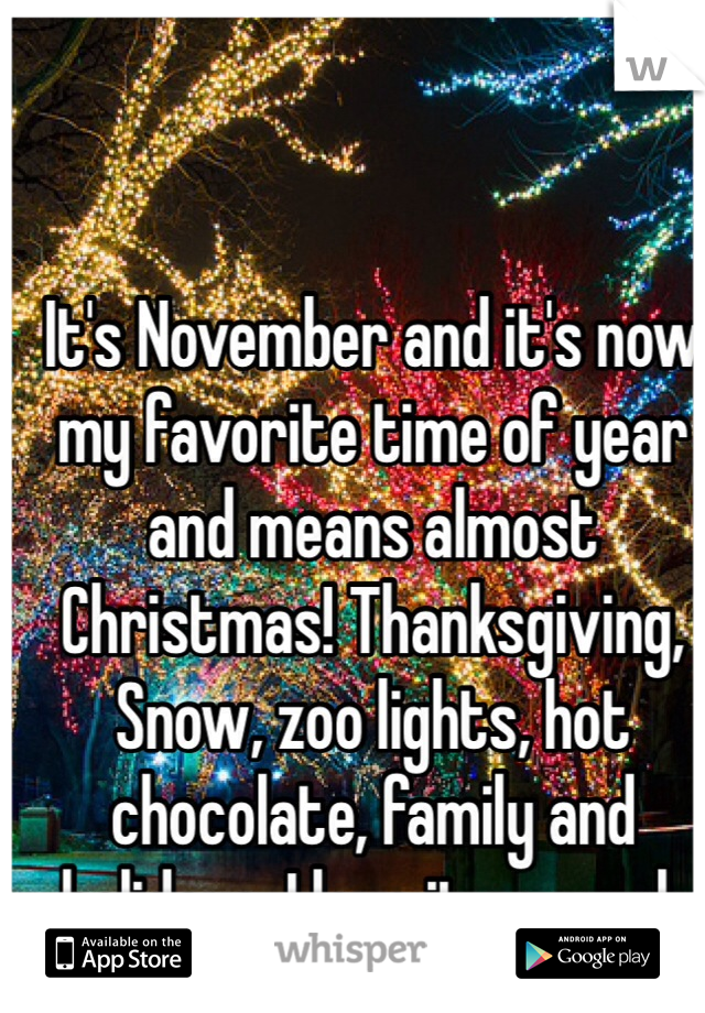 It's November and it's now my favorite time of year and means almost Christmas! Thanksgiving, Snow, zoo lights, hot chocolate, family and holidays. I love it so much