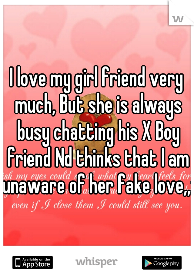 I love my girl friend very much, But she is always busy chatting his X Boy friend Nd thinks that I am unaware of her fake love,,:|