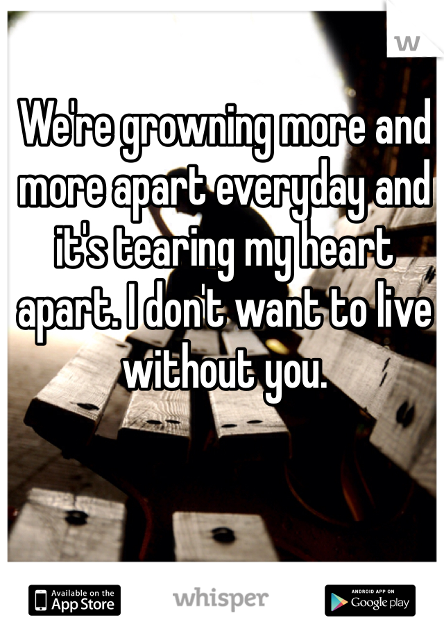 We're growning more and more apart everyday and it's tearing my heart apart. I don't want to live without you.