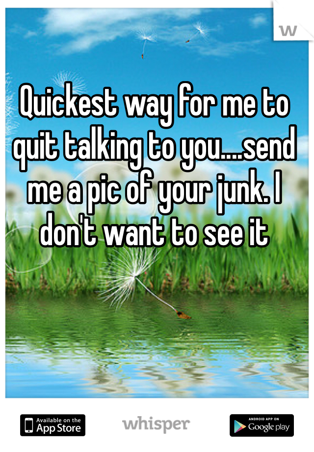 Quickest way for me to quit talking to you....send me a pic of your junk. I don't want to see it