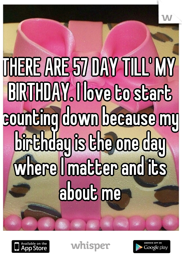 THERE ARE 57 DAY TILL' MY BIRTHDAY. I love to start counting down because my birthday is the one day where I matter and its about me