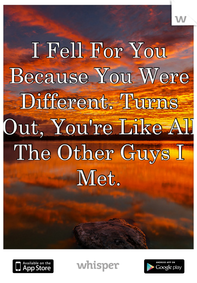 I Fell For You Because You Were Different. Turns Out, You're Like All The Other Guys I Met.