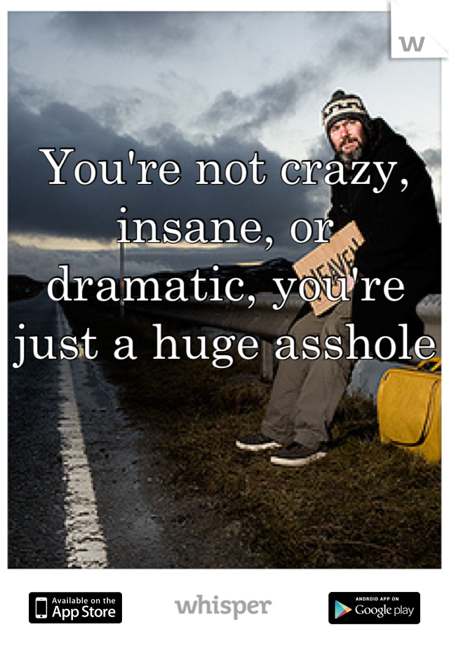 You're not crazy, insane, or dramatic, you're just a huge asshole