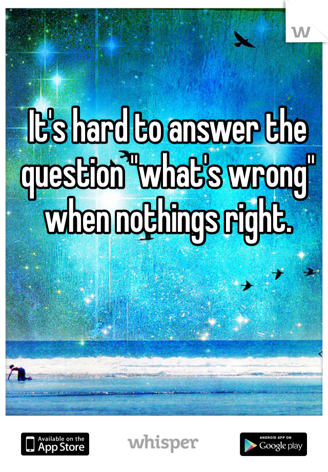 "It's hard to answer the question ""what's wrong"" when nothings right."