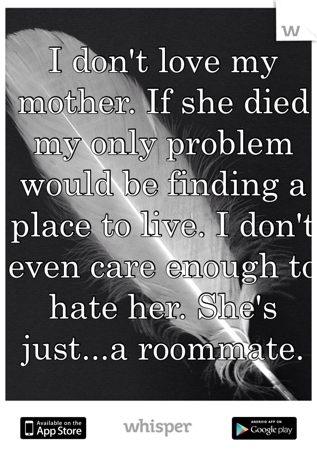 I don't love my mother. If she died my only problem would be finding a place to live. I don't even care enough to hate her. She's just...a roommate.