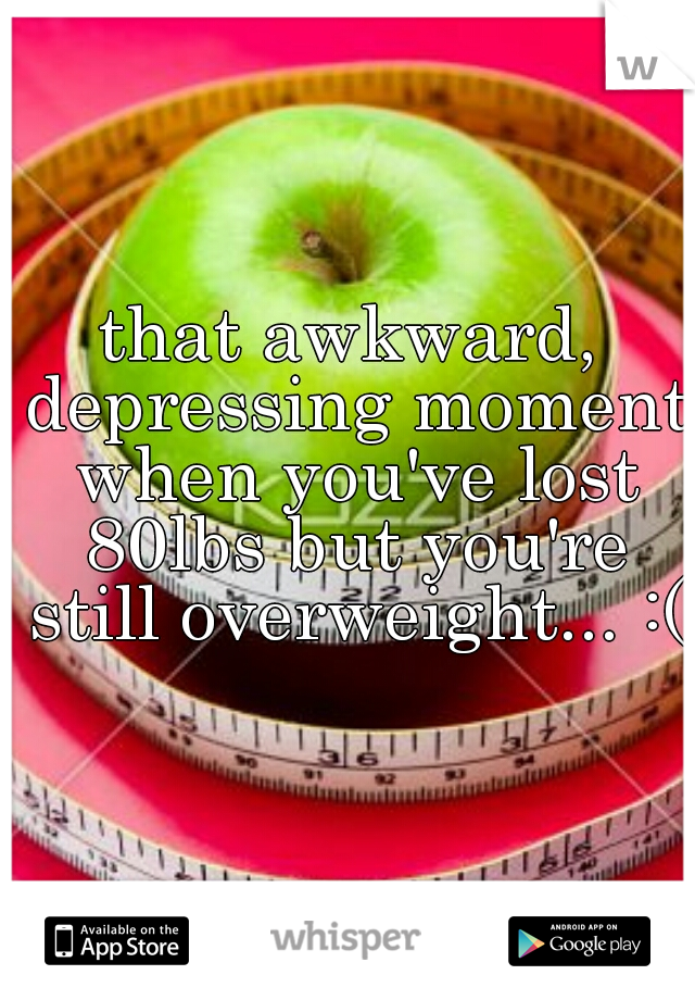 that awkward, depressing moment when you've lost 80lbs but you're still overweight... :(