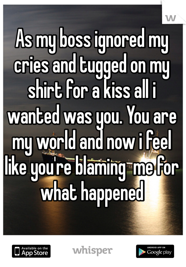 As my boss ignored my cries and tugged on my shirt for a kiss all i wanted was you. You are my world and now i feel like you're blaming  me for what happened