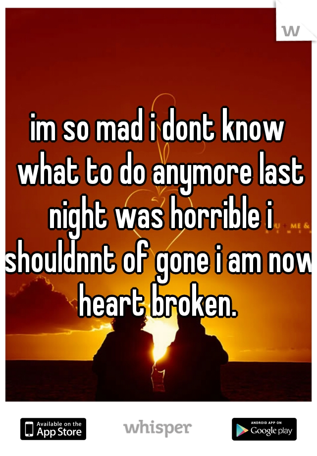 im so mad i dont know what to do anymore last night was horrible i shouldnnt of gone i am now heart broken.