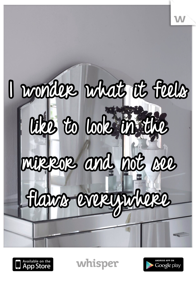 I wonder what it feels like to look in the mirror and not see flaws everywhere
