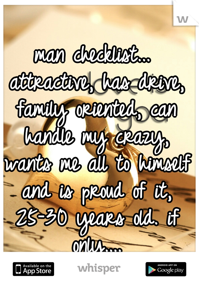 man checklist... attractive, has drive, family oriented, can handle my crazy, wants me all to himself and is proud of it, 25-30 years old. if only....