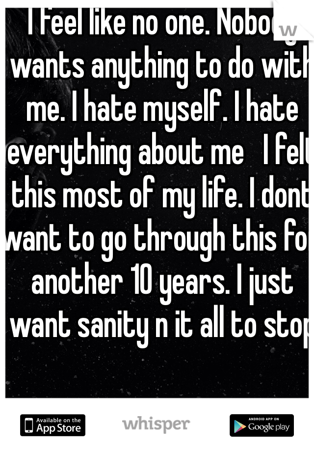 I feel like no one. Nobody wants anything to do with me. I hate myself. I hate everything about me   I felt this most of my life. I dont want to go through this for another 10 years. I just want sanity n it all to stop