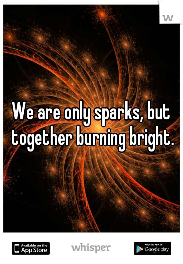 We are only sparks, but together burning bright.