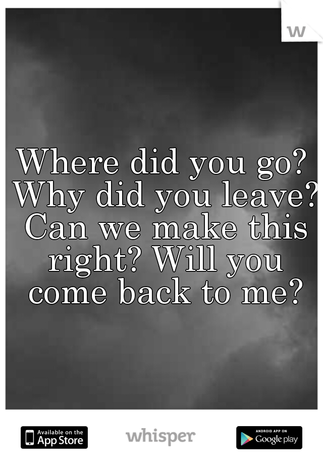 Where did you go? Why did you leave? Can we make this right? Will you come back to me?