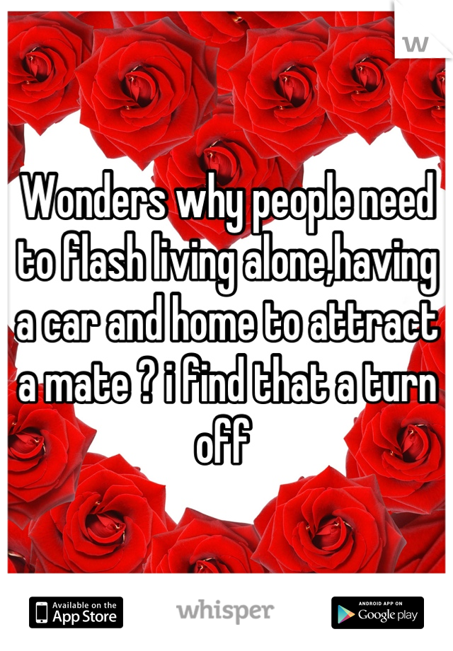 Wonders why people need to flash living alone,having a car and home to attract a mate ? i find that a turn off