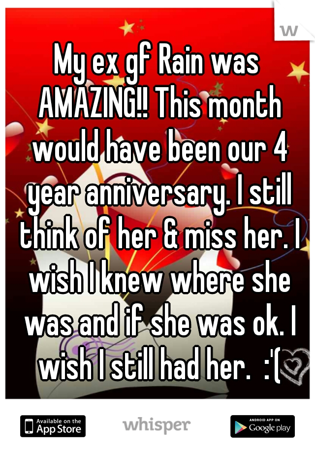 My ex gf Rain was AMAZING!! This month would have been our 4 year anniversary. I still think of her & miss her. I wish I knew where she was and if she was ok. I wish I still had her.  :'(