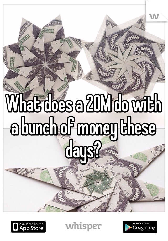 What does a 20M do with a bunch of money these days?