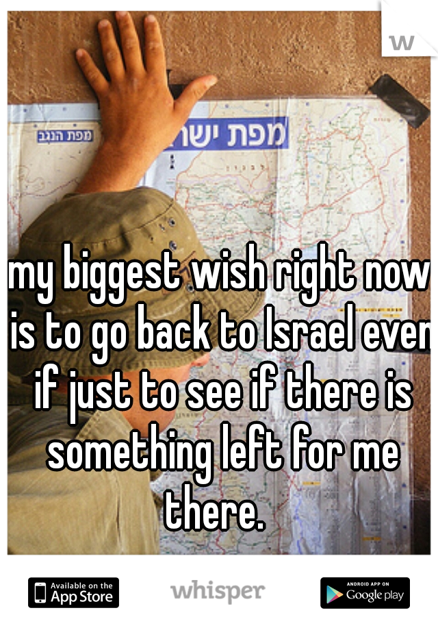 my biggest wish right now is to go back to Israel even if just to see if there is something left for me there.