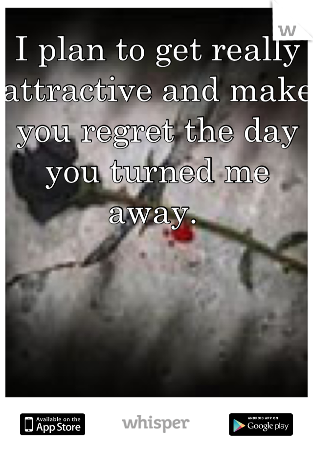 I plan to get really attractive and make you regret the day you turned me away.