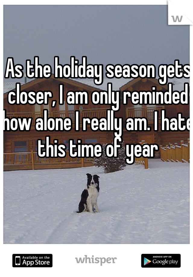 As the holiday season gets closer, I am only reminded how alone I really am. I hate this time of year