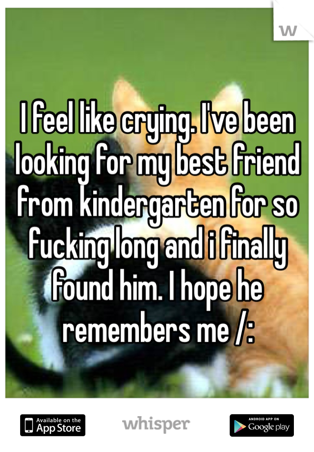 I feel like crying. I've been looking for my best friend from kindergarten for so fucking long and i finally found him. I hope he remembers me /: