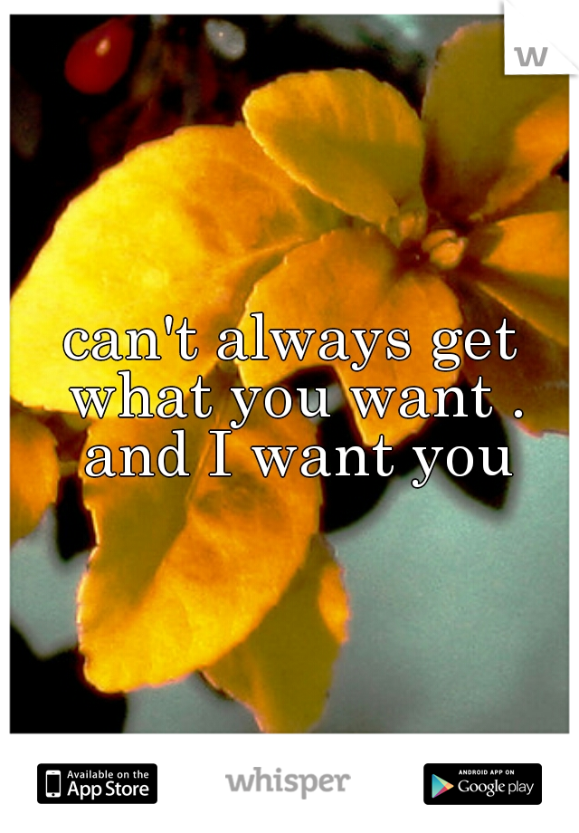 can't always get what you want . and I want you