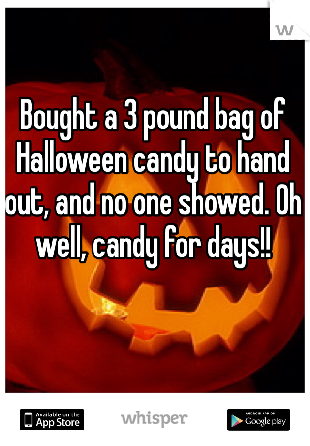 Bought a 3 pound bag of Halloween candy to hand out, and no one showed. Oh well, candy for days!!