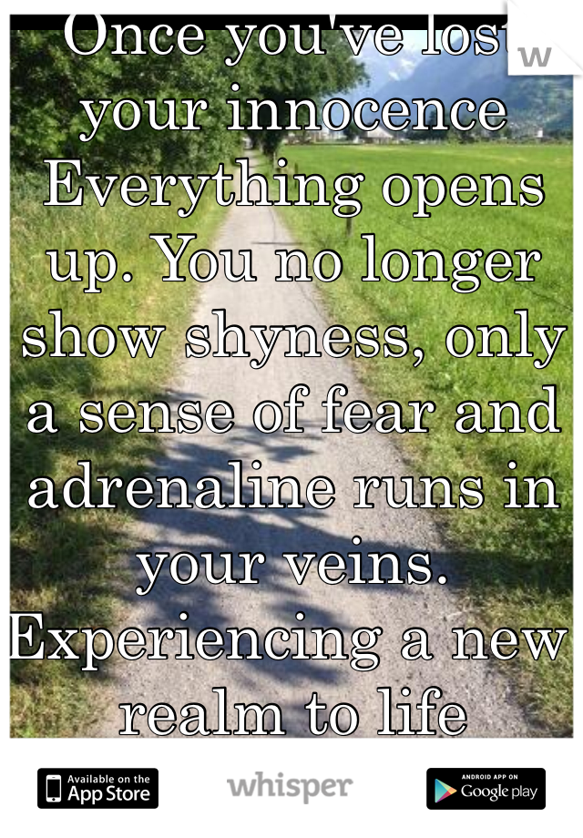 Once you've lost your innocence  Everything opens up. You no longer show shyness, only a sense of fear and adrenaline runs in your veins. Experiencing a new realm to life The reality of life.