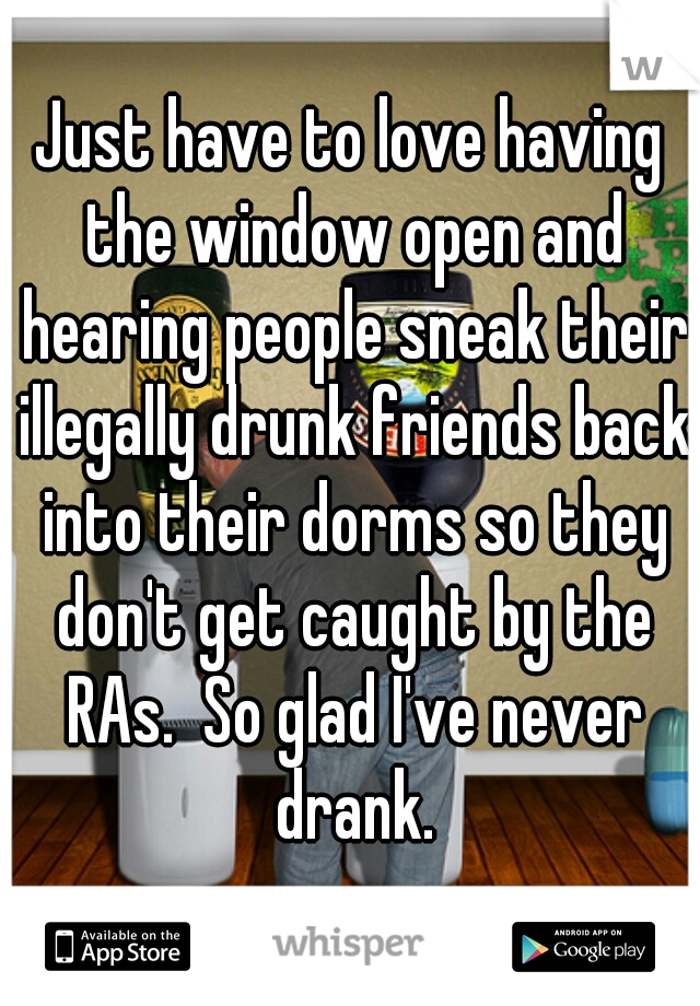 Just have to love having the window open and hearing people sneak their illegally drunk friends back into their dorms so they don't get caught by the RAs.  So glad I've never drank.