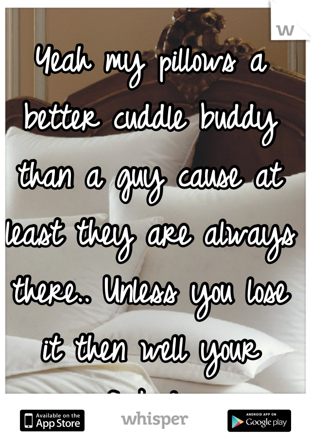 Yeah my pillows a better cuddle buddy than a guy cause at least they are always there.. Unless you lose it then well your fucked