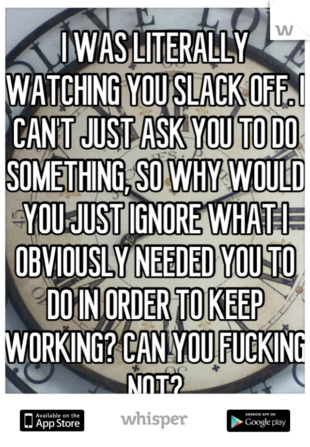 I WAS LITERALLY WATCHING YOU SLACK OFF. I CAN'T JUST ASK YOU TO DO SOMETHING, SO WHY WOULD YOU JUST IGNORE WHAT I OBVIOUSLY NEEDED YOU TO DO IN ORDER TO KEEP WORKING? CAN YOU FUCKING NOT?