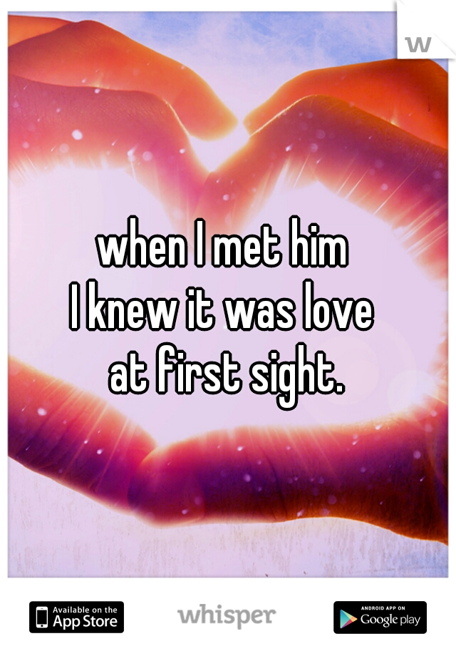 when I met him  I knew it was love  at first sight.