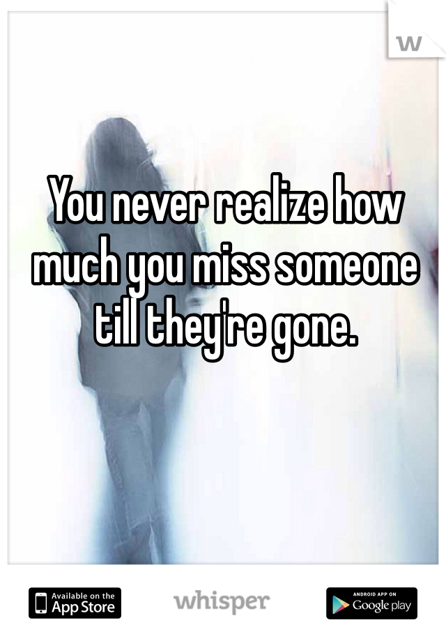 You never realize how much you miss someone till they're gone.
