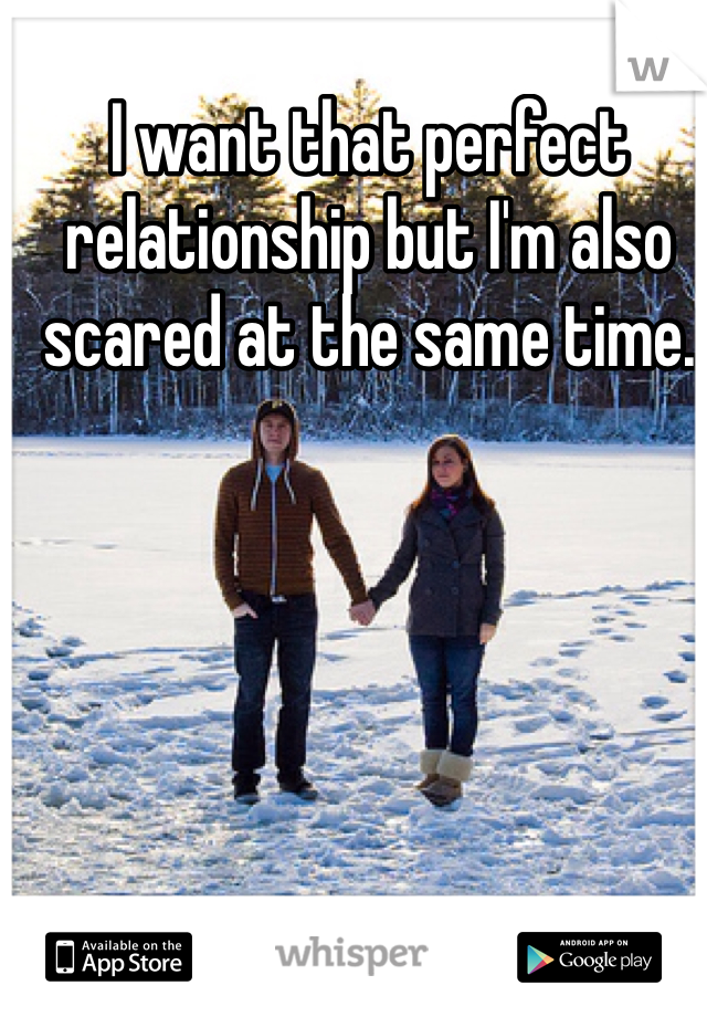 I want that perfect relationship but I'm also scared at the same time.