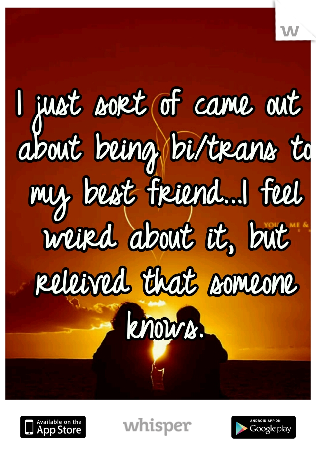 I just sort of came out about being bi/trans to my best friend...I feel weird about it, but releived that someone knows.