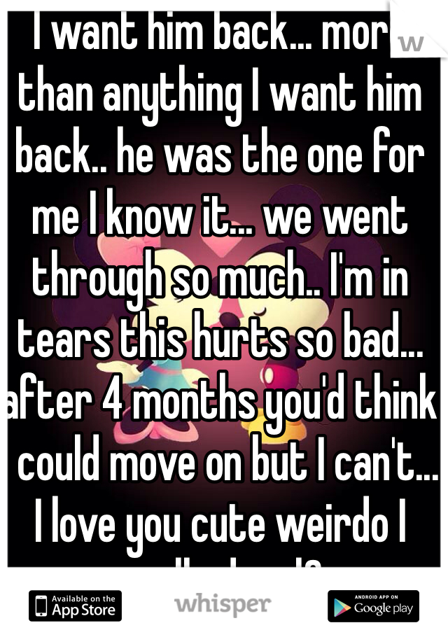 I want him back... more than anything I want him back.. he was the one for me I know it... we went through so much.. I'm in tears this hurts so bad... after 4 months you'd think I could move on but I can't... I love you cute weirdo I really do..<|3