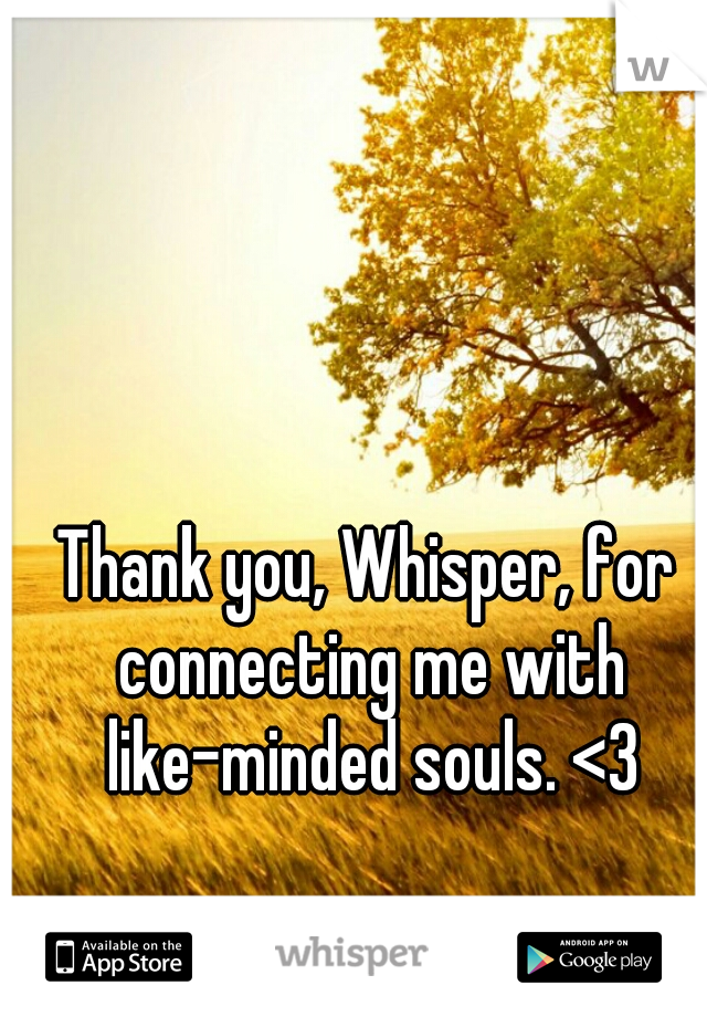 Thank you, Whisper, for connecting me with like-minded souls. <3