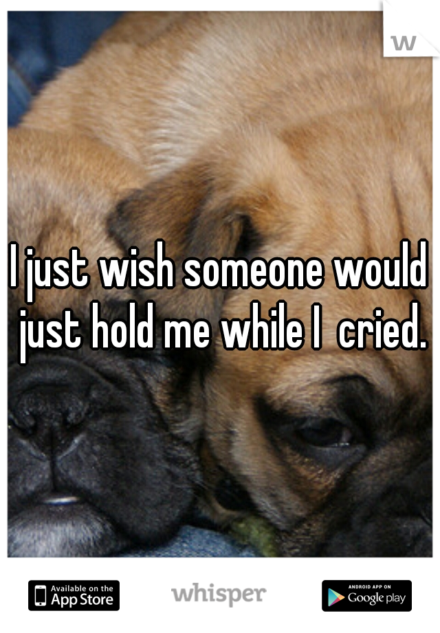 I just wish someone would just hold me while I  cried.
