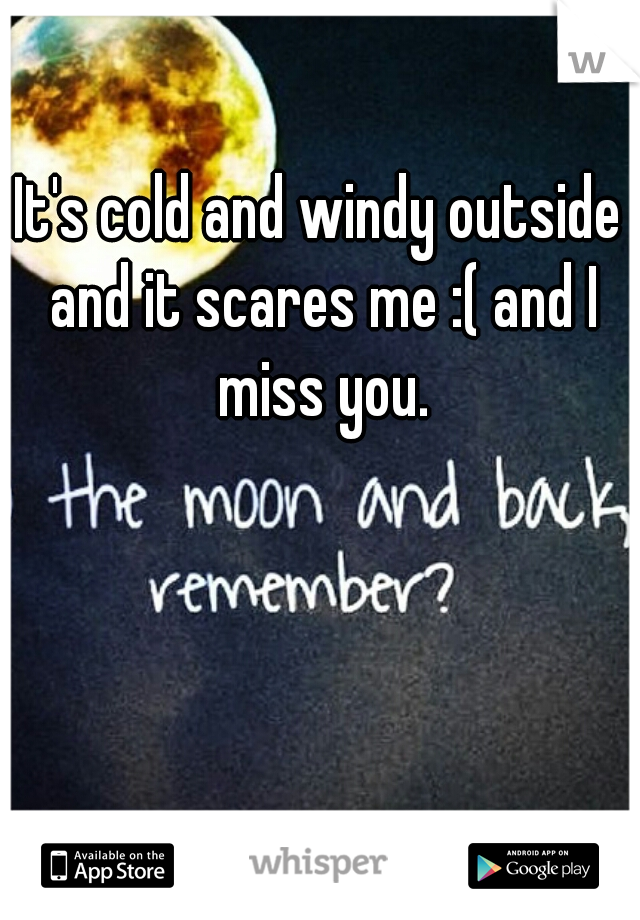 It's cold and windy outside and it scares me :( and I miss you.