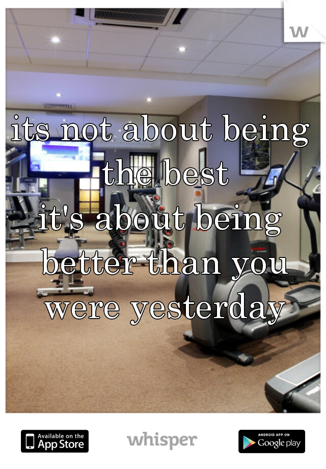 its not about being the best  it's about being better than you were yesterday