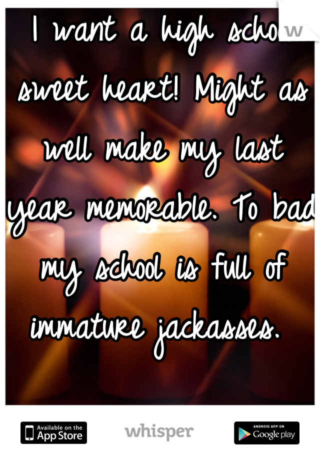 I want a high school sweet heart! Might as well make my last year memorable. To bad  my school is full of immature jackasses.