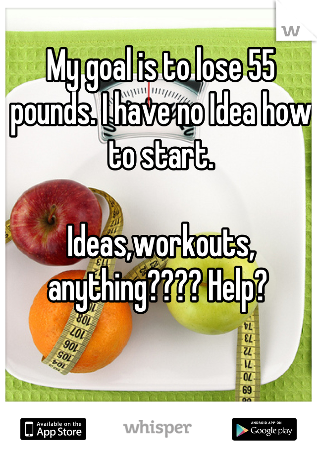 My goal is to lose 55 pounds. I have no Idea how to start.   Ideas,workouts, anything???? Help?