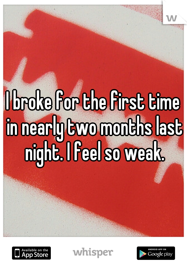 I broke for the first time in nearly two months last night. I feel so weak.