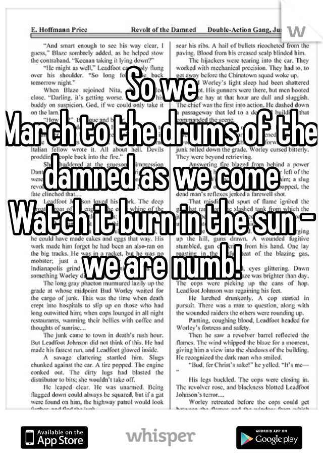 So we March to the drums of the damned as we come Watch it burn in the sun - we are numb!