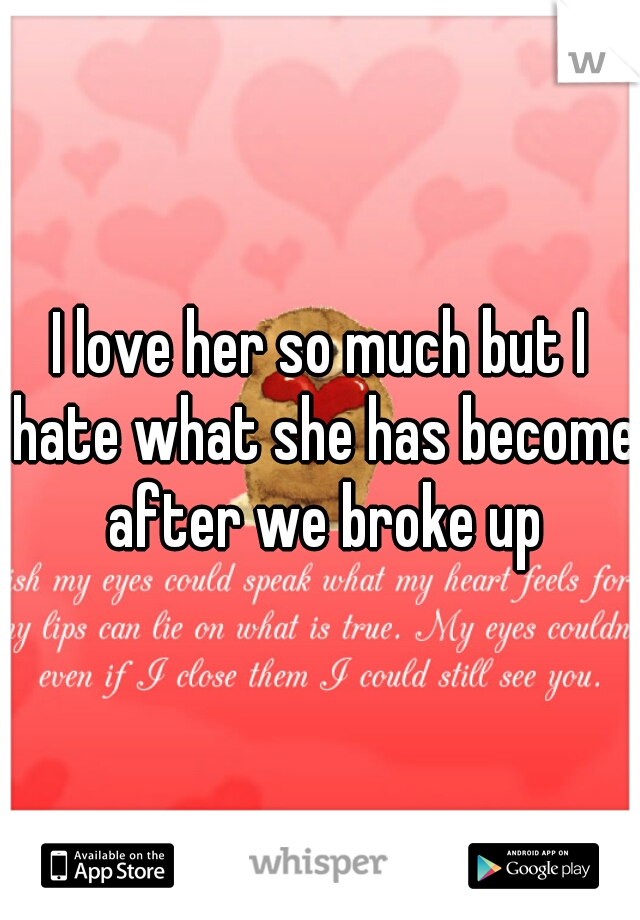 I love her so much but I hate what she has become after we broke up