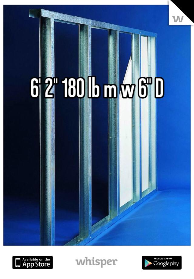 "6' 2"" 180 lb m w 6"" D"