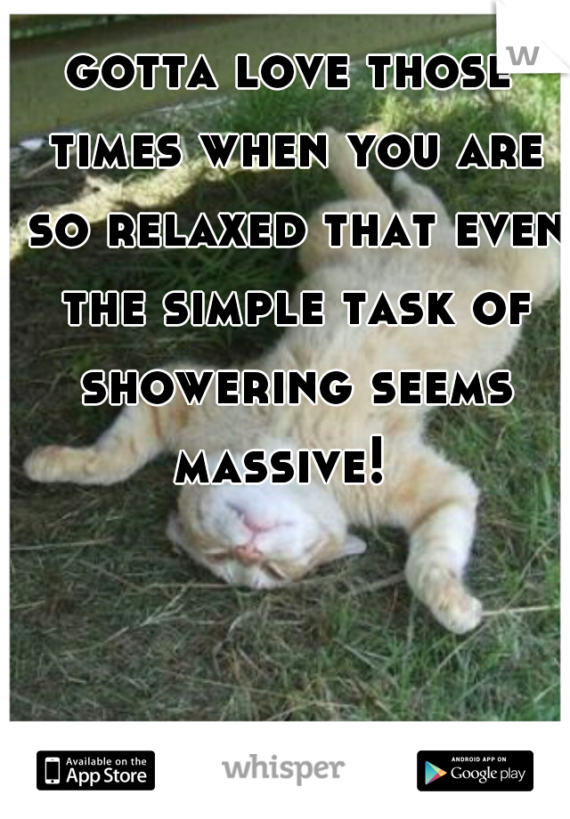 gotta love those times when you are so relaxed that even the simple task of showering seems massive!