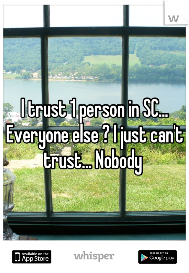 I trust 1 person in SC... Everyone else ? I just can't trust... Nobody