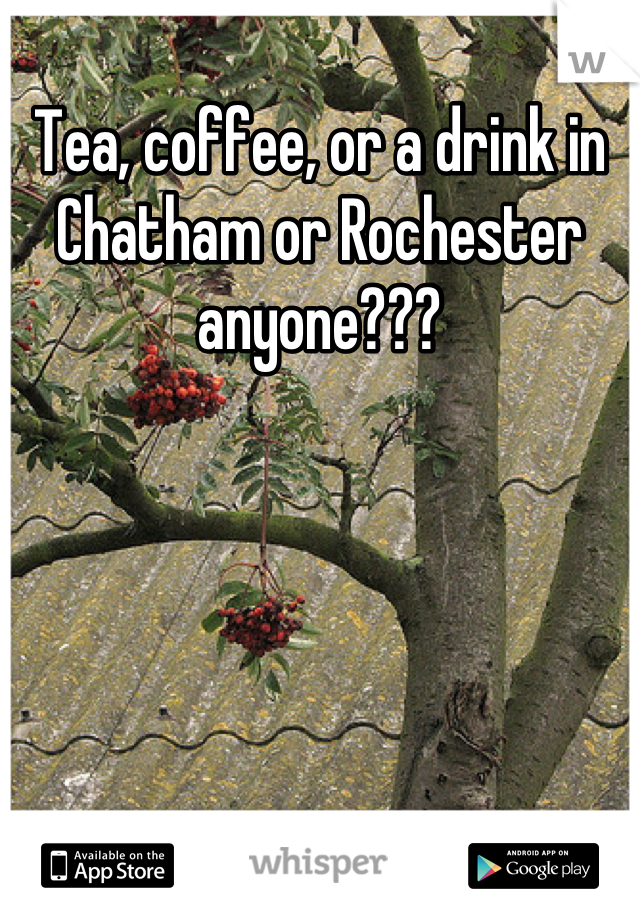Tea, coffee, or a drink in Chatham or Rochester anyone???