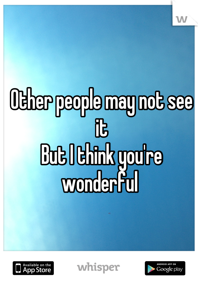 Other people may not see it But I think you're wonderful
